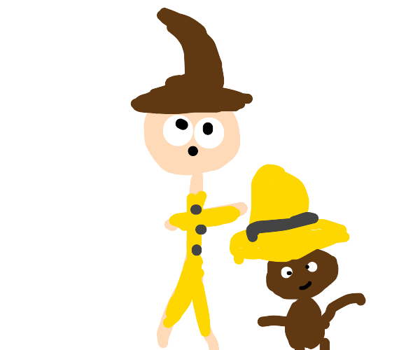 the man in the yellow hat gets banana hair
