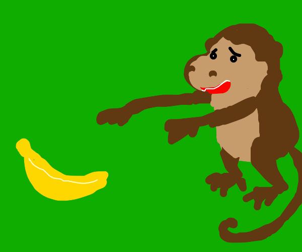 WANT BANANA. -Monkey