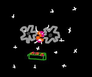 Space gears grind up peach
