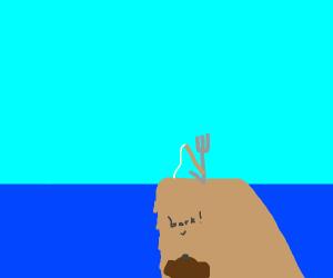 Dog barks at fishing fork