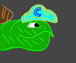 A smug turtle wearing Cap'n Crunch's hat!