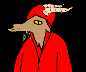 goat man in a red robe