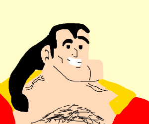 No one's neck's as incredibly thick as Gaston