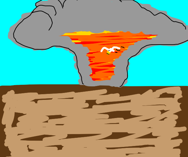 Bird flying out of a nuclear explosion