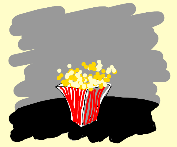 red and white striped container of popcorn