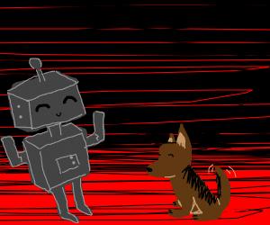 Robot and a dog