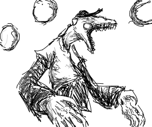 Monster with a top hat goin Rawr