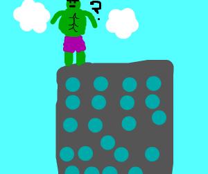 hulk rethinking jumping down tall building