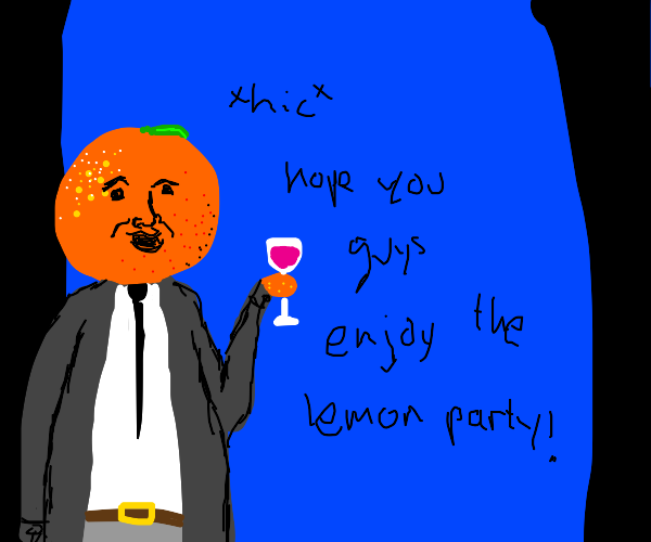 an orange getting drunk w a glass of wine