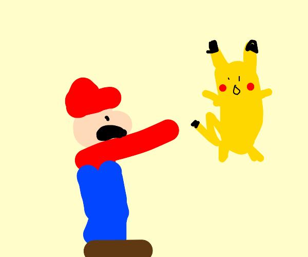 Mario throwing a pokemon