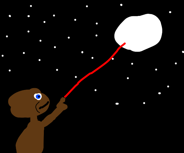 E.T. is going to shoot the sky with red laser