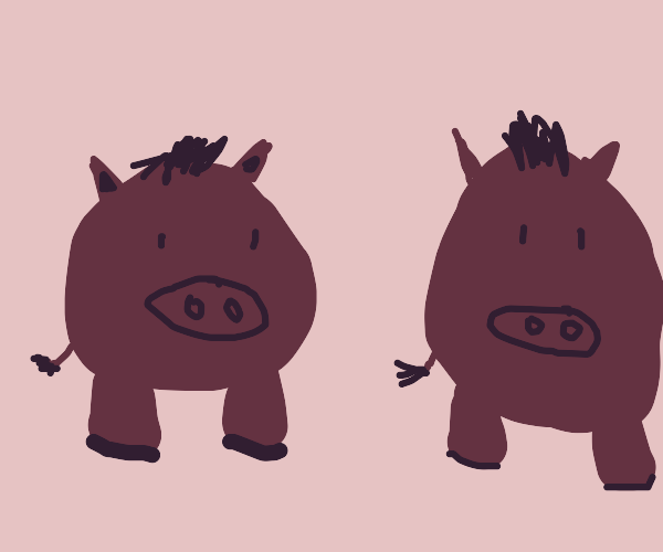 Two round hogs with only two meaty legs each