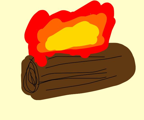 One log burning on fire