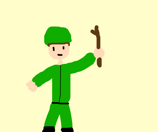 Military guy has a stick