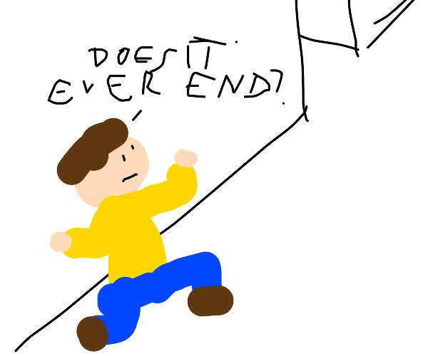 man walks down looonnnng hallway