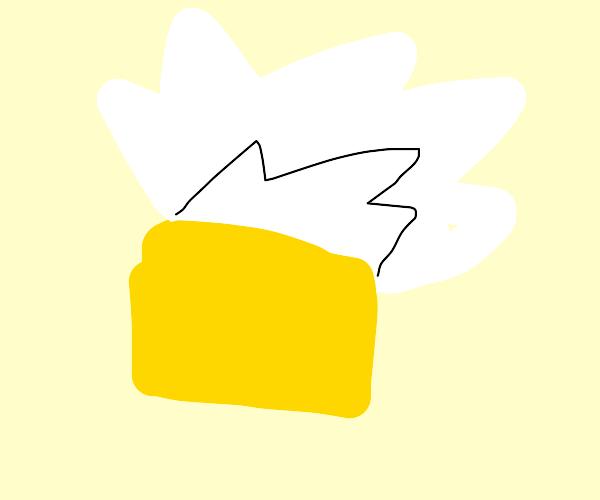 white explosion on yellow box