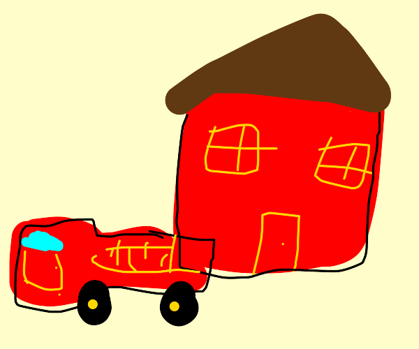 BIG RED TRUCK IN FRONT OF BIG RED HOUSE