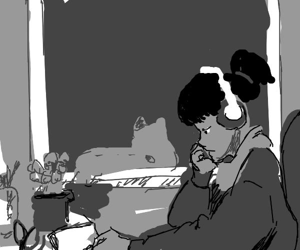 quiet anime person sketch