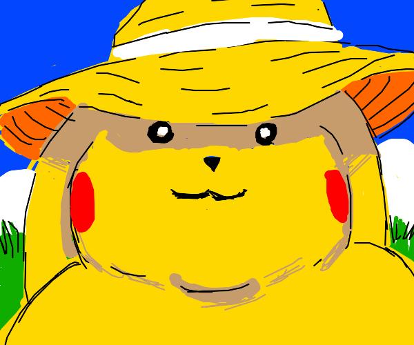 Pikachu in a sun hat