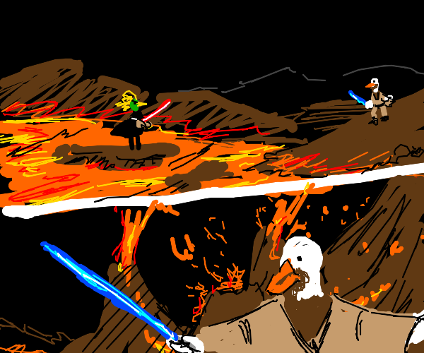Duck fights with Duck Vader