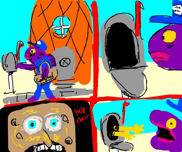 Sponge bob is in mailbox, scares the mailman