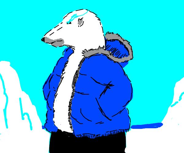 Undertale skeleton guy as a polar bear