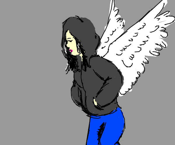 Girl in a hoodie with wings