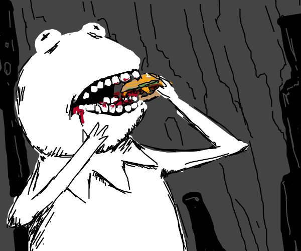 Black and white kermit eats burger