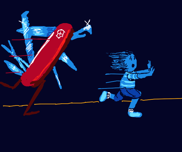 child running from swiss army knives
