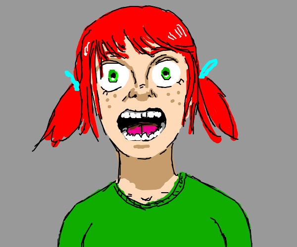 red-haired girl looks at you amazement