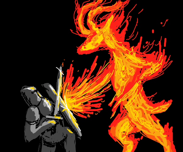 knight attempts to slay a firey goat of hell