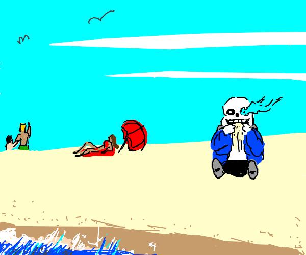sans eating sand