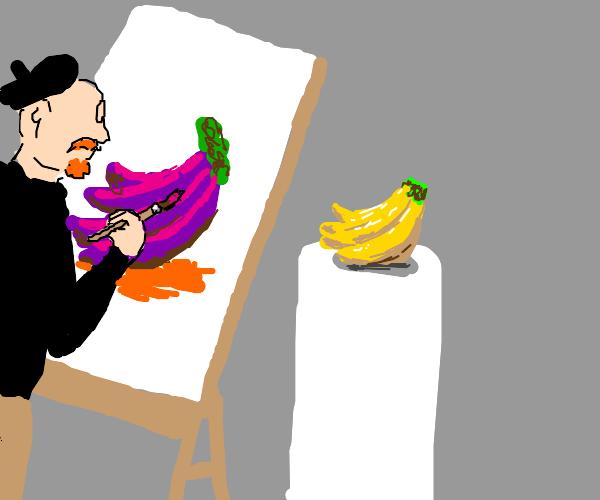 Guy draws purple bananas, green stem