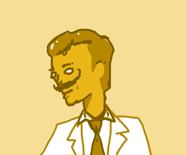 yellow salvador dali with a thick stache?