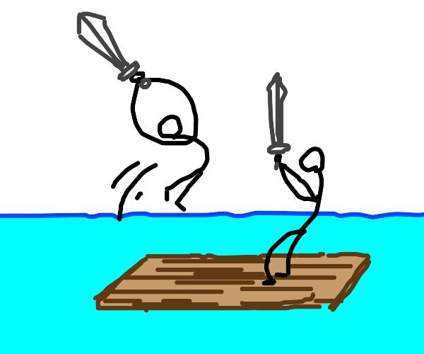 Sword fight on a raft
