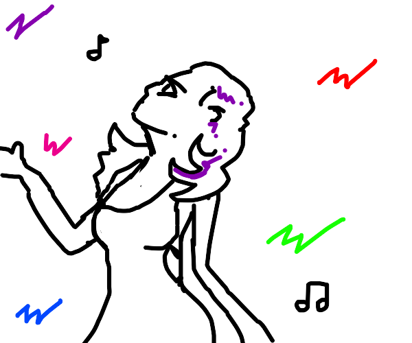 Purple haired girl jams out