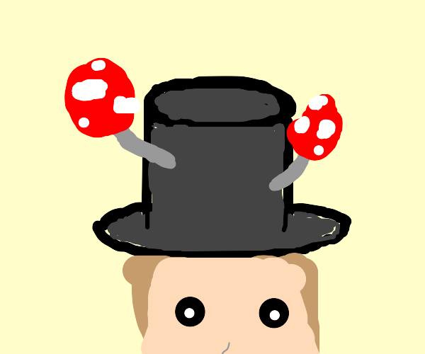 tophat with mushrooms growing on it