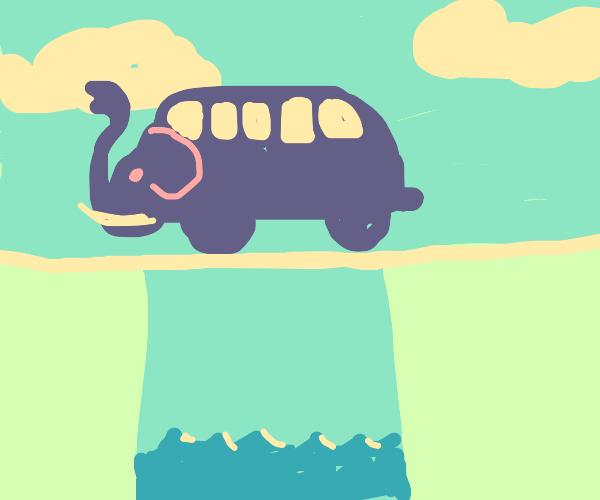 elephant bus on a bridge
