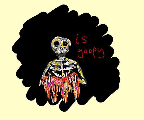 Skeleton w/no flesh has melting flesh