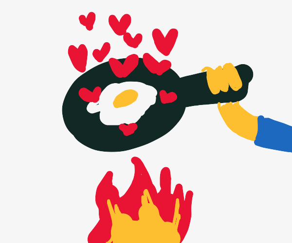 Frying an egg while it radiates hearts