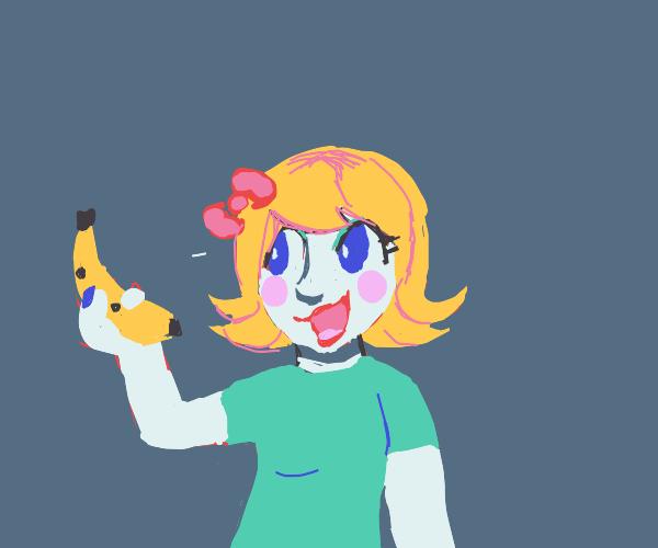 Woman has a banana