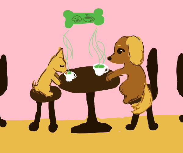 Two dogs enjoy a cup of tea!
