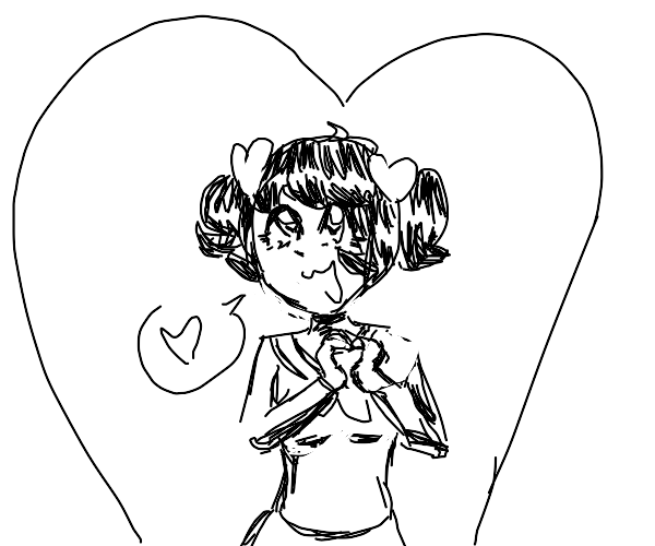 Anime heart girl in black and white sketch