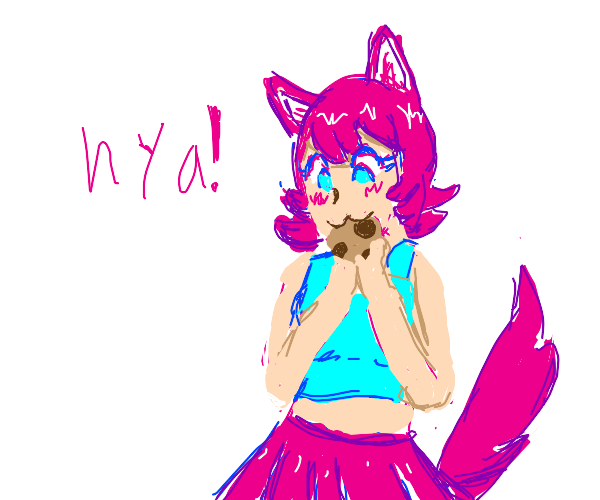 anime cat girl with a cookie