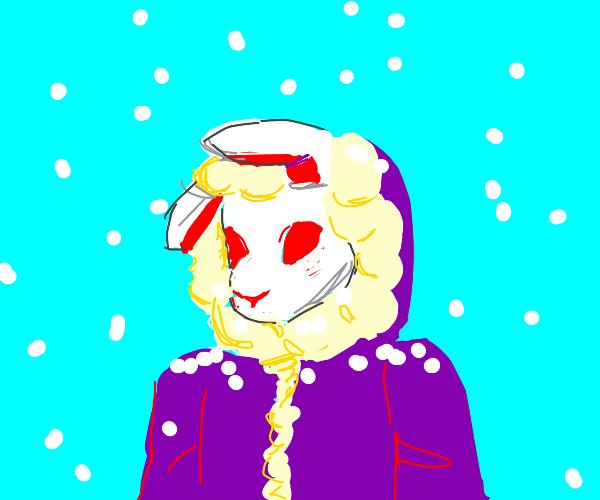 Rabbit boy dressed for winter