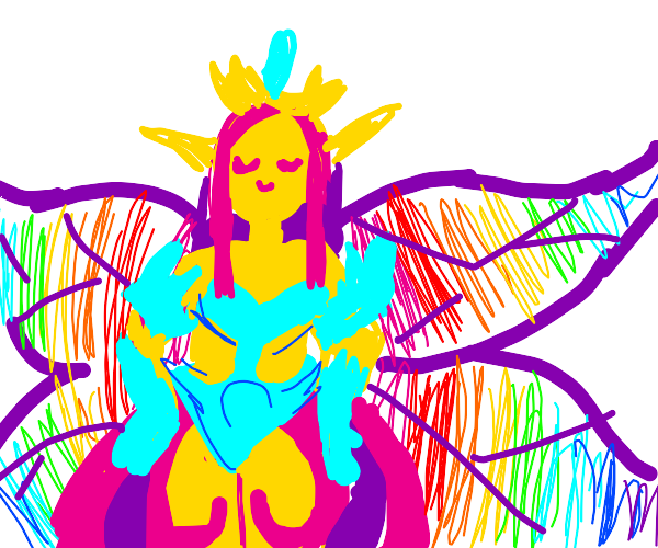 Grand, gold fairy, wings like stained glass