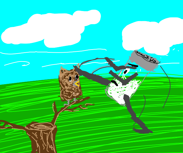 salt shaker using karate skills on scared owl