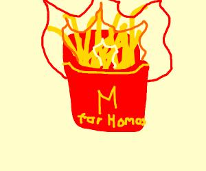 Macdonalds new homosex fries are set on fire