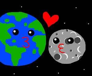 Earth kissing the moon
