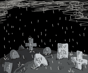 Graveyard in the rain